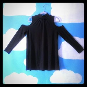 Kensie Black Long sleeve shoulder cutout Top